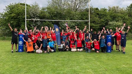 The Saracens Disability group with their Worcester rivals and volunteers