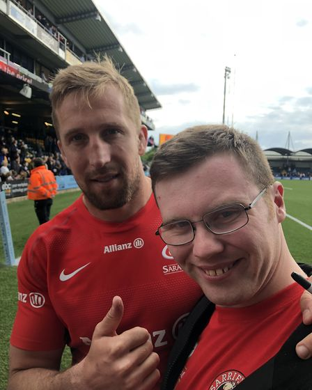 Dominic Day with Saracens Disability youngster Gabriel