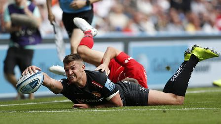 Exeter Chiefs' Henry Slade scores a try during the Gallagher Premiership Final at Twickenham Stadium