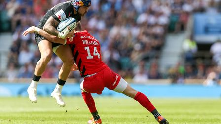 Exeter Chiefs' Jack Nowell and Saracens' Liam Williams during the Gallagher Premiership Final at Twi