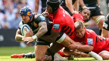 Exeter Chiefs Jack Nowell and Saracens' Maro Itoje during the Gallagher Premiership Final at Twicken