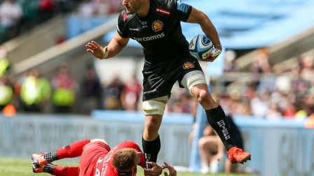 Exeter Chiefs' Don Armand and Saracens' Liam Williams during the Gallagher Premiership Final at Twic