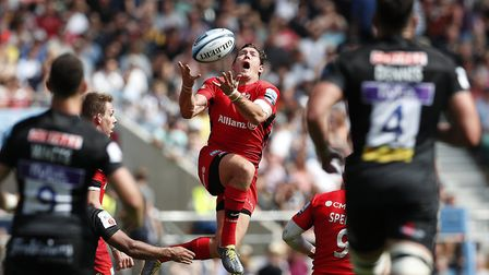 Saracens' Alex Goode collects the ball in the air during the Gallagher Premiership Final against Exe