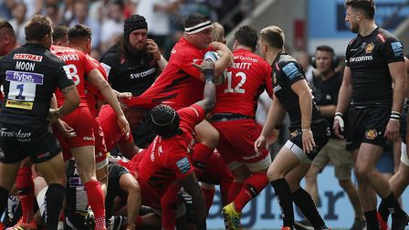 Saracens' Jamie George (centre) celebrates his try against Exeter Chiefs during the Gallagher Premie