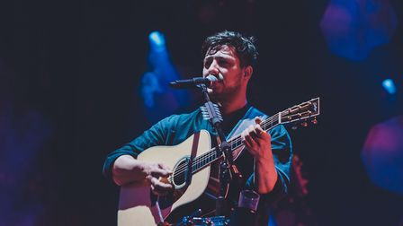 Marcus Mumford of Mumford & Sons performing in Victoria Park. Picture: Lou Morris.