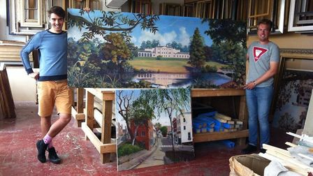 Adam and Kirk pose with the Kenwood House painting before it was re-framed. Picture: Adam Woodall