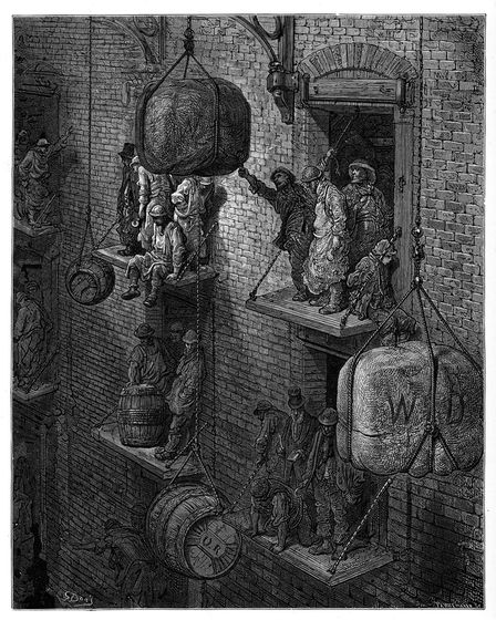 Vintage engraving showing a scene from 19th Century London England. Men at work loading goods into