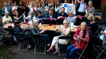 Richard Ratcliffe with a group of eager West Hampstead neighbours at a Knitting for Nazanin event. P