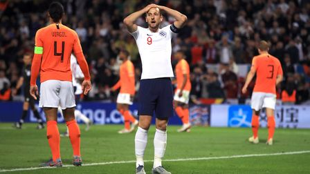 England's Harry Kane reacts after a missed chance during the Nations League semi-final against Nethe