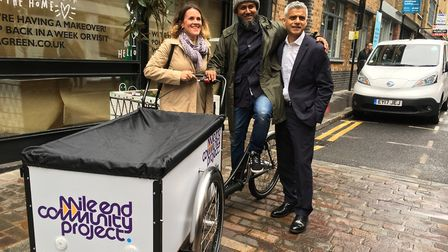 Nurull Islam from Mile End Community Project meets Sadiq Khan, who was visiting the City Fringe Low