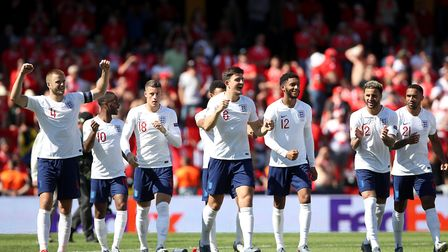 England players celebrate after winning the penalty shoo-tout during the Nations League third/fourth