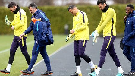 Tottenham Hotspur captain Hugo Lloris (left), goalkeeper Michel Vorm (centre), goalkeeper Paulo Gazz