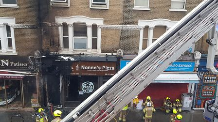 A man was rescued from the second floor of a house in Green Lanes during a fire on Monday morning. P