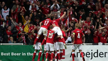 Denmark players celebrate after scoring during their Euro 2020 Group D qualifying campaign (pic: Bra