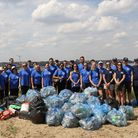 Royal Bank of Canada Volunteers with the 52kg of plastic waste that they cleared from the River Tham