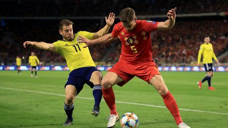 Scotland's Ryan Fraser (left) and Belgium's Jan Vertonghen battle for the ball during the Euro 2020