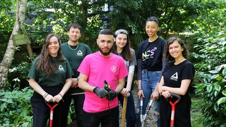 From left to right, NCS and Groundwork London volunteers: Nathalie Botcherby, Jack Narbed, Usman Ahm