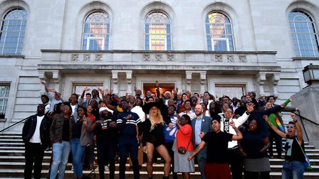 Organisers and supporters UK Black Pride on the steps of Hackney Town Hall. Picture: POLLY HANCOCK