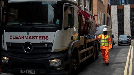 A tanker takes away the sewage from The Curtain hotel in Shoreditch. Picture: Joshua Thurston