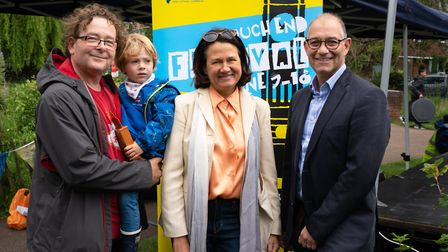 Catherine West MP with Crouch End Festival organiser Chris Arnold, his child, and main sponsor Simon