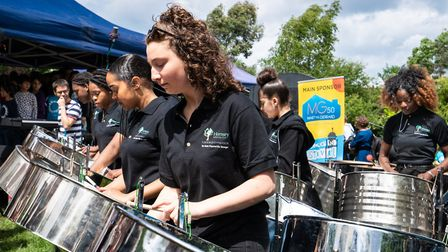 Students from Hornsey School for Girls performed in a steel band to launch the Crouch End Festival.