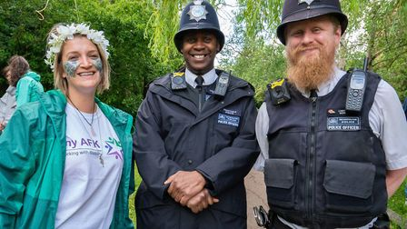 Caroline Crang, from disability charity My AFK, with local police officers at the Crouch End Festiva
