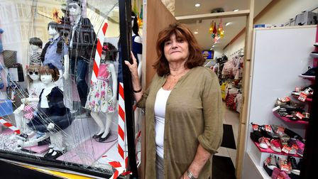 Maureen Butterworth at Tiddlywinks boutique St John's Wood High Street. Damage to the front window 2
