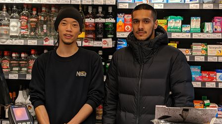 Tabrez Hussain who runs the Nisa on Brecknock Road with the store's manager Raymond Liu. Picture: Sa