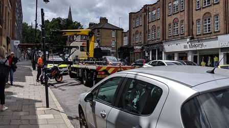 A motorcyclist was injured after a road traffic collision in Crouch End Hill. Picture: Sam Volpe