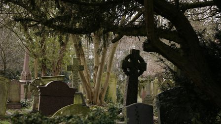 A view of Highgate Cemetery East in Highgate, north London.
