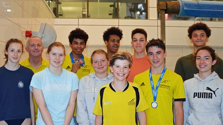 Haringey Aquatics swimmers celebrates success at the London Regional Championships 2019. Back row: C