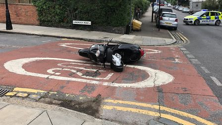 An abandoned moped after a chase in Crouch End. Picture: Supplied