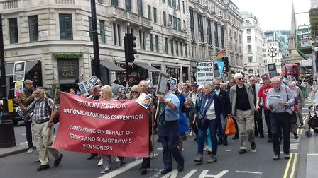 Hornsey Pensioners Action Group joined other protestors marching against the withdrawal of TV licenc