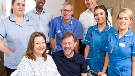 """Dawne Le Good and Bill Pope with the clinical team at the Royal Free after their """"marriage."""" Picture"""