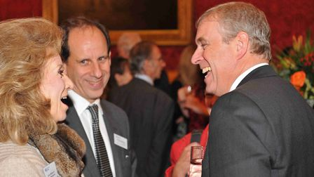 Dr Robin Woolfson (centre) with the Duke of York, Prince Andrew at a Royal Free Charity fundraiser i