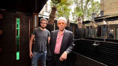 Barry McKay with SFX designer Anthony Platt in the still to be finished Balinese garden of his house