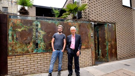 Barry McKay (right) with SFX designer Anthony Platt outside his house on Gayton Rd NW3. Picture: Pol