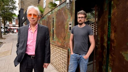 Barry McKay with SFX designer Anthony Platt outside his house on Gayton Rd NW3. Picture: Polly Hanco