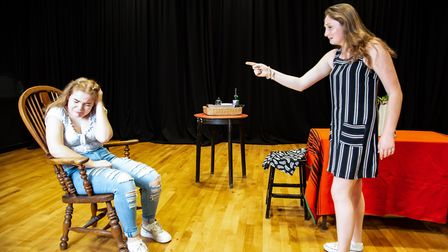 Two pupils from LaSwap during the dress rehearsal for their production of Blood Wedding at RADA next
