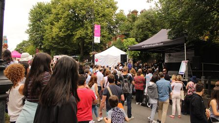 The festival had two musical stages on the incline up Heath Street. Picture: Shanei Stephenson-Harri