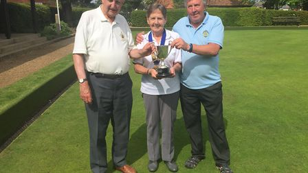 Pictured L to R is Michael Peak, Diane Bryan and Ray Goddard. Pictures: Courtesy of Oulton Broad Bow