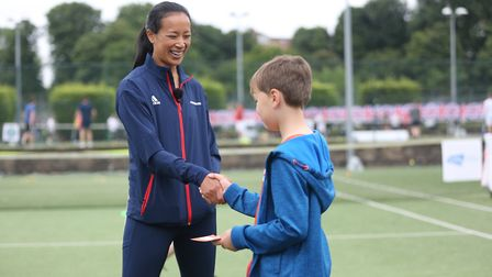 Anne Keothavong at Tennis for Kids, Wimbledon. Picture: LTA