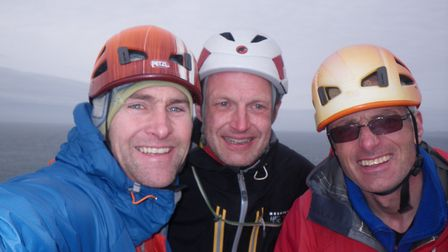 Nick Carter and Red Szell with their missing friend Martin Moran (right) at summit of the Old Man of