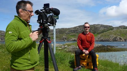 Red poses for Keith Partridge during the expedition to Am Buachaille. Picture: Nick Carter