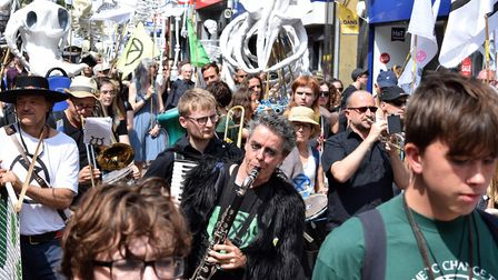 "Extinction Rebellion demonstrators ""skeleton march"" through Hackney Downs to London Fields. Picture:"