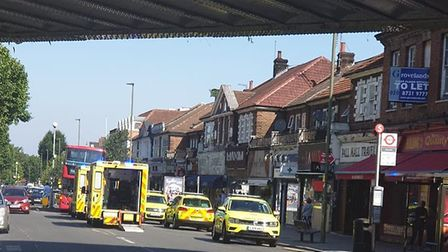 The scene of a collision between a bus and two pedestrians in Golders Green. Picture: @999London
