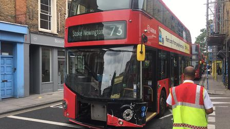 Stoke Newington Church Street is blocked after a bus and a car collided. Picture: Will Nott