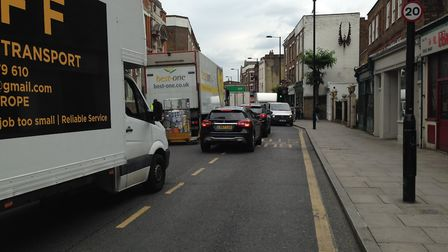 Traffic backed up down Stoke Newington Church Street in the wake of the collision. Picture: Rory Sul