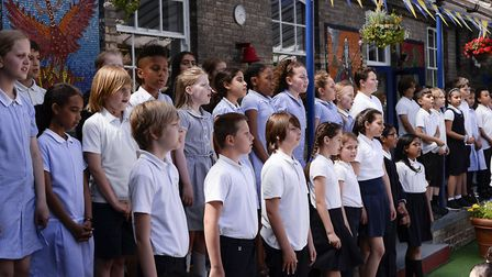Children sing at the 150th anniversary of St Peter's C of E School, Maida Vale. Picture: St Peter's