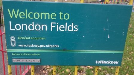 Lights for cyclists have been put up in London Fields. Picture: Madeleine Saghir